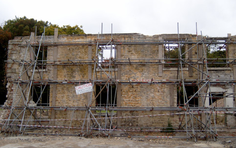 Temporary shoring works to retained facade